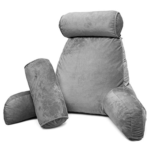 Clara Clark Bed Rest Reading Pillow with Arms and Pockets Premium Shredded Memory Foam, Detachable Neck Roll & Lumbar Support, Large, Gray