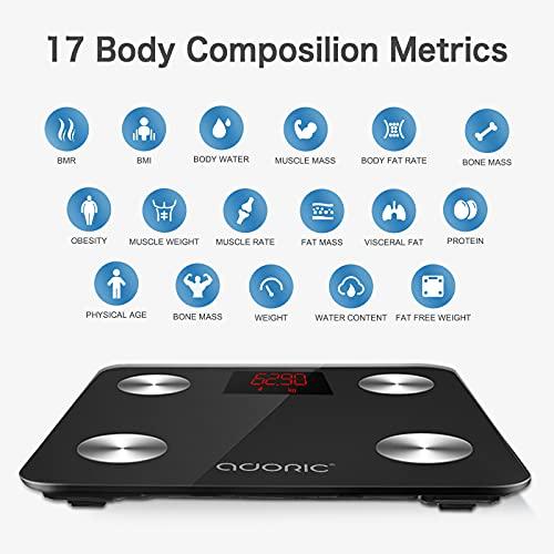 412Jg6TDOnL. SL500  - Báscula de Baño Báscula Inteligente Bluetooth Báscula Digital con IMC de Alta Precisión, Monitores de Peso Corporal Maximo 180kg para Andriod (4.0 y superior) y IOS(8.0 y superior) (Negro oscuro)