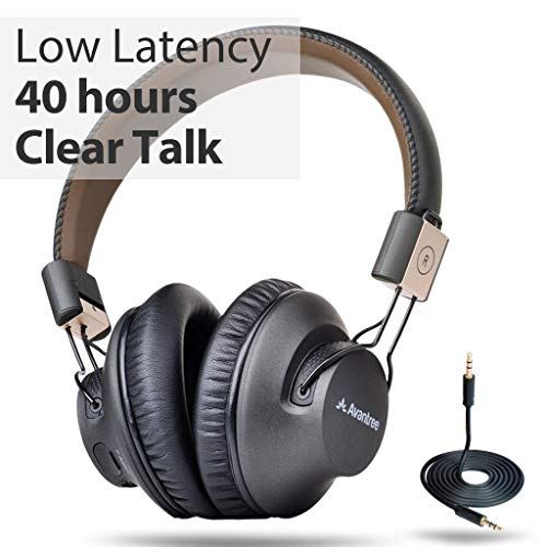 Avantree 40 Stunden APTX Low Latency Wireless Bluetooth Over-Ear Faltbar Fernseher Kopfhörer Headset mit Mikrofon, Fast Audio für TV, PC, Wired Drahtlose Funkkopfhörer, DUAL Mode - Audition Pro