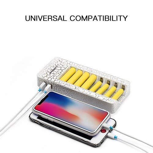 Caricabatterie con 8 slot, momen LED Caricabatterie Tecnologia SmartIC per Li-Ion/IMR/NI-MH/Ni-CD 14500 18500 AA AAA Caricabile Batterie,Due Porte USB per il Cellulare di Ricarica