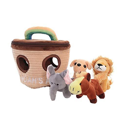 Kelong Juguetes para chirriar para perros, una cesta de animales para ocultar y buscar rompecabezas de peluche, juguete interactivo para masticar perros para entrenar, olfatear y acompañar