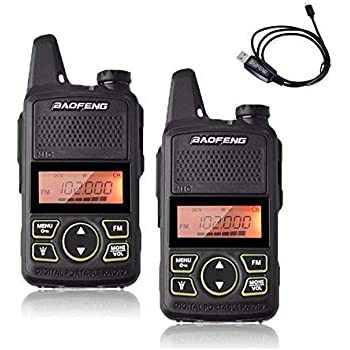 HYS Mini UHF Ham Radio Rechargeable 2 Way Radios Earpiece Type Ham Radio Gold 2Pack