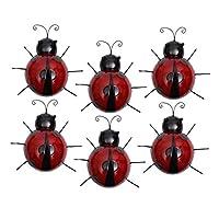 Baoblaze 6個/個テントウムシモデルウォールアートウォールアートてんとう虫アウトドアガーデンデコレーションレッド
