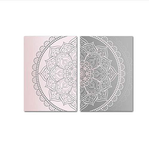 MULMF Rosa Grau Mandala Abstrakt Leinwand Poster Boho Wandkunst Druck Dekorative Malerei Bild Moderne Wohnzimmer Dekoration- 60X80Cmx2 Kein Rahmen