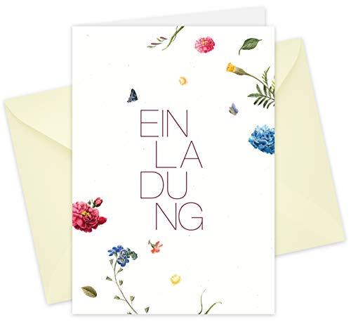20 Karten & 20 Umschläge: Klappkarten Einladungskarten – Blüten – DIN A6 im Set, Einladung zur Hochzeit, Taufe, Geburtstag, Konfirmation, Kommunion, Jubiläum