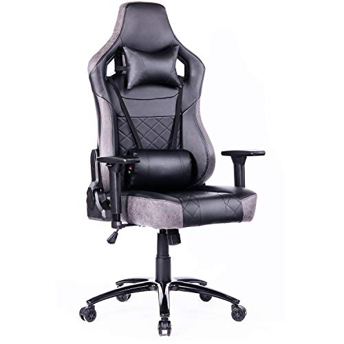 Blue Whale Big and Tall Gaming Chair with Massage Lumbar Support,Metal Base and 3D...