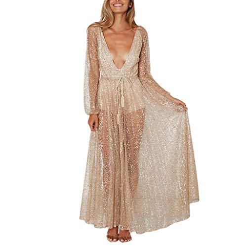 iYmitz Damen Mode Beiläufig V-Ausschnitt Pailletten Schwarz Spitze Knielang Solide Mesh Perspektive Langes Kleid Partykleider Cocktailkleider