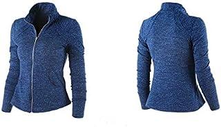 BEESCLOVER Women's Sports Jacket Stand Collar Ruched Outerwear Sportswear Ladies Shirt Running Yoga Fitness Sweater Upperwear Blue S