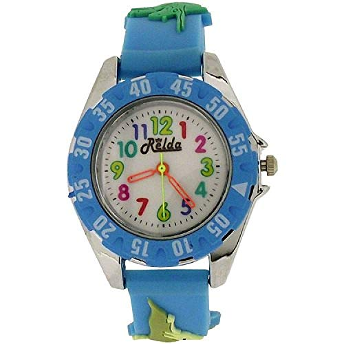 Relda orologio analogico per ragazzini, cinturino con dinosauro 3D in silicone, colore azzurro REL82