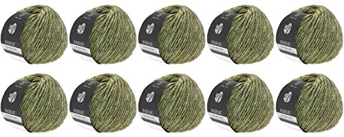 Lana Grossa Insieme 10er Set Wolle in Blassgelb-Dunkelbraun inklusive Strick-Magazin