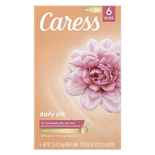 Caress Beauty Bar Soap For Noticeably Silky Soft Skin Daily Silk Extract and Floral Oil Essence, (6 Count of 3.75 oz Bars) 22.5 oz