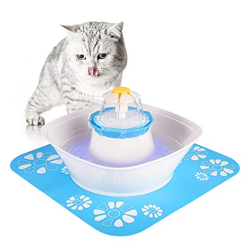 Beacon Pet Fountain, LED 84oz/2.5L Automatic Cat Water Fountain Dog Water Dispenser with 1 Silicone Mat for Cats, Dogs, Multiple Pets