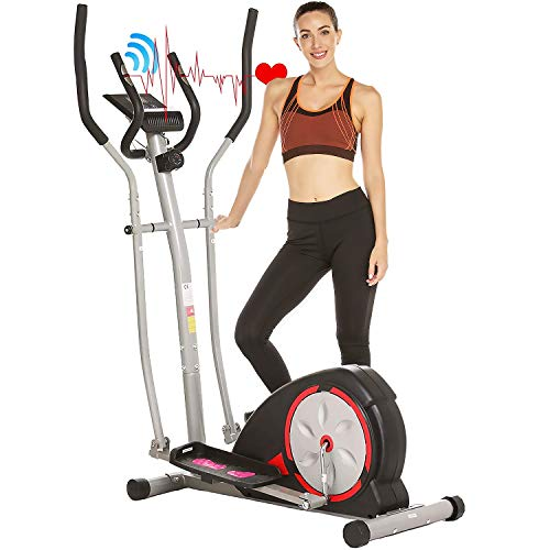 ANCHEER Elliptical Machine, Elliptical Exercise Trainer Machine with LCD Monitor and Pulse Rate Grips, Magnetic Smooth Quiet Driven for Home Using, Top Levels Elliptical Trainer (Black)