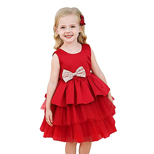 NNJXD Bebé Niñas Princesa Vestido Bowknot Lentejuelas Vestidos Pompa Boda Vestido de...