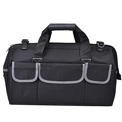 Bolsa de herramientas práctica ajustable 47 x 23 x 30 cm, tela Oxford gris con mango de plástico para almacenamiento de herramientas