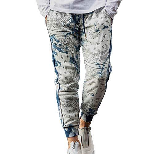 1PIU1UGUALE3 RELAX(ウノピゥウノウグァーレトレ)ペイズリー柄ブリーチジョグロングパンツ 【usb-21003】 (M, インディゴ)