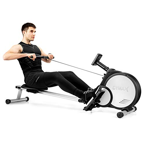 Goplus Magnetic Rowing Machine, Folding Rower with 16 Levels Auto Resistance and Wearable Heart Rate Monitor, Multifunctional Display, 300lbs Weight Capacity, Compact Design for Home Apartment Use