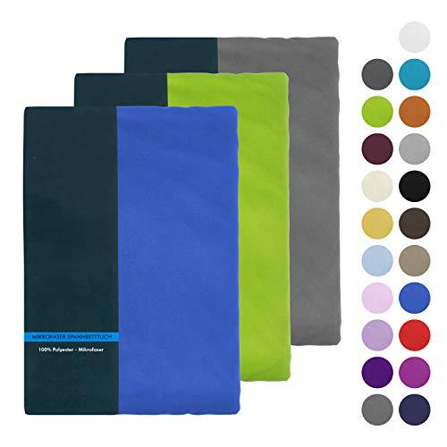 BaSaTex Microfaser Spannbettlaken, Spannbetttuch 200x220 cm +40 Steg auch für Wasserbetten und Boxspringbetten - Grau