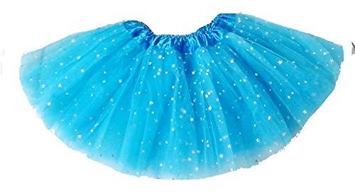 Gonna - Tulle - Bambina - Celeste - Gonnellina - Glitter - 2 Strati - Danza - Ballerina - Accessori - tutu - Vestiti - Carnevale - Taglia Unica - 3-8 Anni - Idea Regalo Natale Compleanno