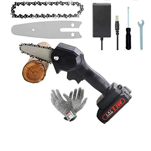Mini-Kettensäge, 4-Zoll-Akku-Kettensäge, Bürstenloser Kettensägenmotor, Elektrische 24-V-Handsäge mit einem Gewicht von 0,7 kg, ein Paar Schneidschutzhandschuhe