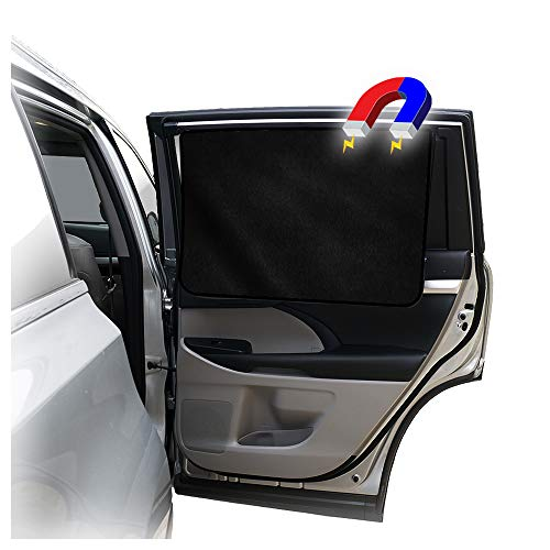 ggomaART Car Side Window Sun Shade - Universal Reversible Magnetic Curtain for Baby and Kids with Sun Protection Block Damage from Direct Bright Sunlight, and Heat - 1 Piece of Solid Black