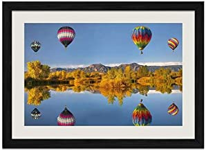 Hot Air Balloon Over Lake - Art Print Wall Black Wood Grain Framed Picture(16x12inch)