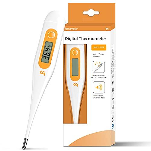 [ 2020 Nuovo ] Termometro Digitale, Termometro medico orale per adulti, Termometro febbre per temperatura rettale, orale, ascellare per adulti e bambini, Veloce e preciso, Commutazione C/F, arancione