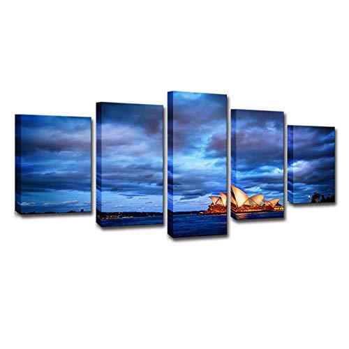 5 Piezas Cuadros Modernos de Imagen Artística Cuadro sobre Lienzo Paisaje al atardecer de Sydney Poster HD Print De Decoración para El Hogar-Sin Marco 200 X 100 cm