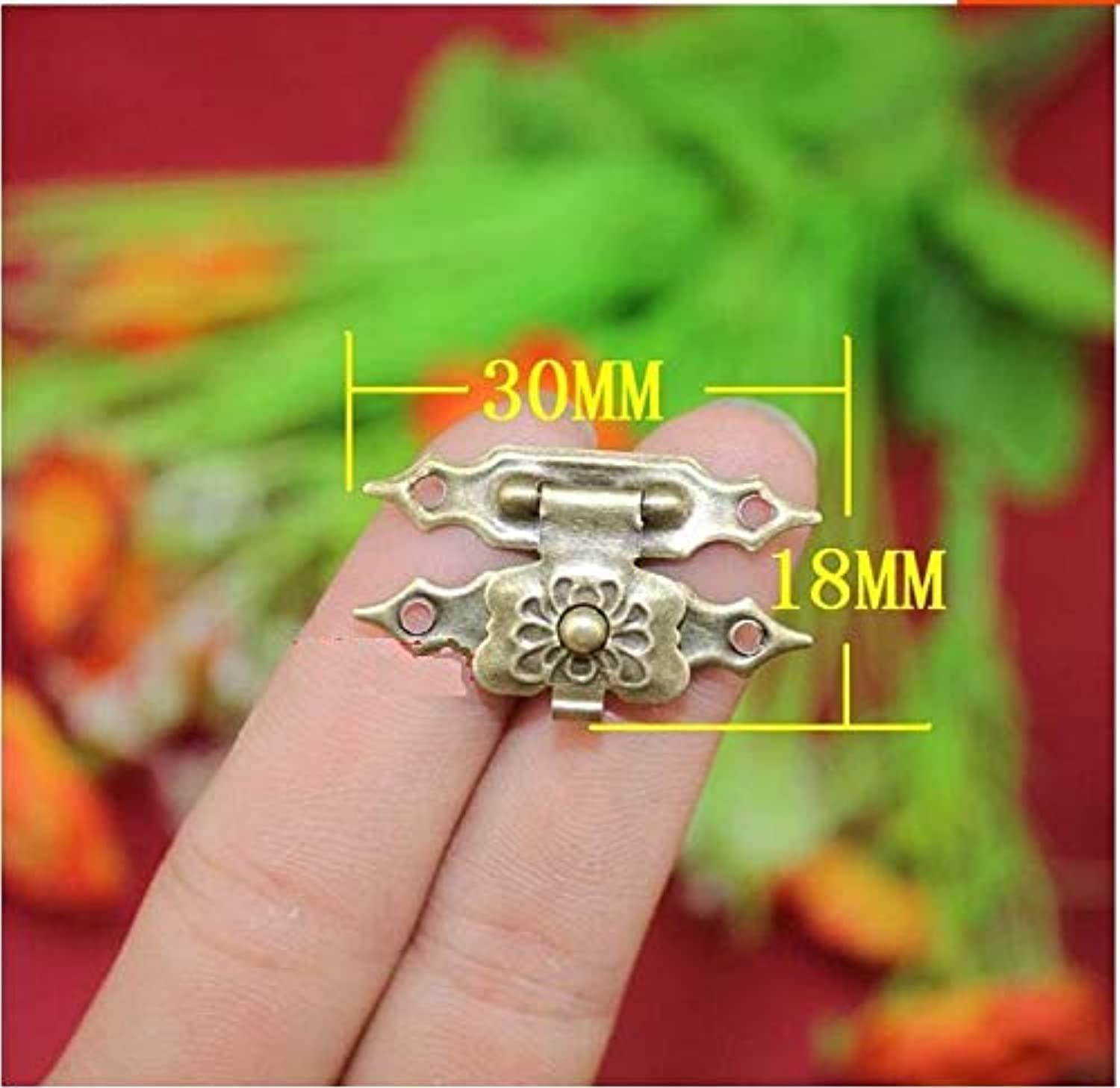 Ping 50pcs lot Antique Metal Buckle Wooden Gift Box Buckle Flower Buckle Decorative Gadget Product Name  Flower Buckle