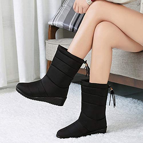 Plush And Thickened Warm Snow Boots Exquisite Tassels Mid-tube Snow Boots Waterproof Women For Winter