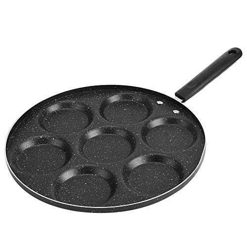 Household Kitchen Breakfast Pancake, 7 Holes Frying Pan Non Stick Fried Eggs Cooking Pan Burger Mold for Egg Hamburger with Handle