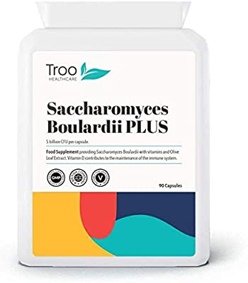 Saccharomyces Boulardii 90 Capsules 5 Billion CFU Probiotic Supplement with Added Olive Leaf, Biotin and Vitamin D by Troo Health Care