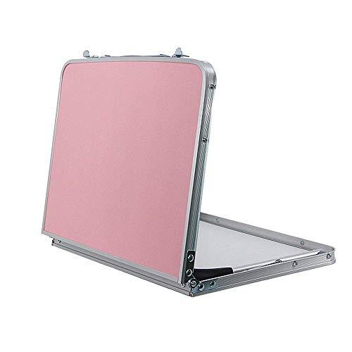 Sisyph-c mesa de cama ajustable para computadora portátil, mesa de computadora con cama de aleación de aluminio, escritorios portátiles para acampar portátiles ultraligeros y plegables (color: rosa)