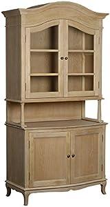 My-Furniture – Armoire Les Milles avec Portes en Verre et en chaîne Massif avec Patine provençale, Shabby Chic