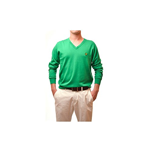 Pull Lyle and Scott Vert col v pour Homme