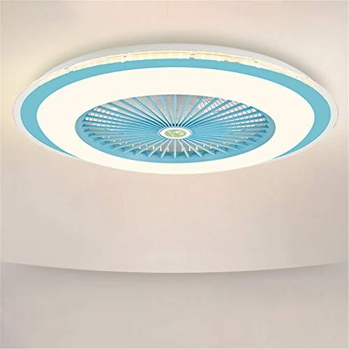 Ultradelgado Ventilador De Techo con Iluminación, con Mando a Distancia, Regulable, 3 Velocidades Ajustable, LED Luz De Techo, Silencio Luz del Ventilador para Sala De Estar Y Dormitorio,Azul,B