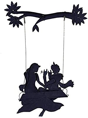 5456725d0a7 Karigaari India Wrought Iron Elegant Radha Krishna Under Swing Wall Hanging  Showpiece I Radha Krishna Jhula