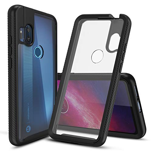 CBUS Heavy-Duty Phone Case with Built-in Screen Protector Cover for Motorola One Hyper –– Full Body (Black)