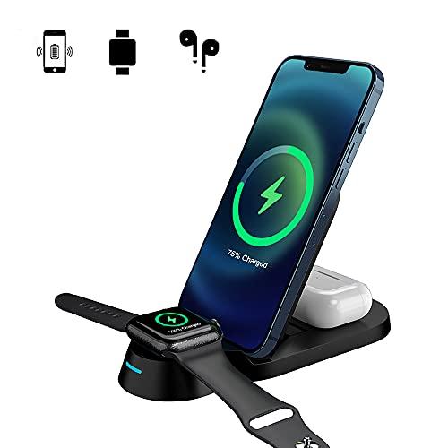 Soporte para cargador inalámbrico 3 en 1, soporte de estación de carga inalámbrica de 15W para Apple iWatch Series SE/6/5/4/3/2/1, AirPods, iPhone 12/12 Pro Max/11 Serie/XS Max/XR/XS/Samsung/Huawei