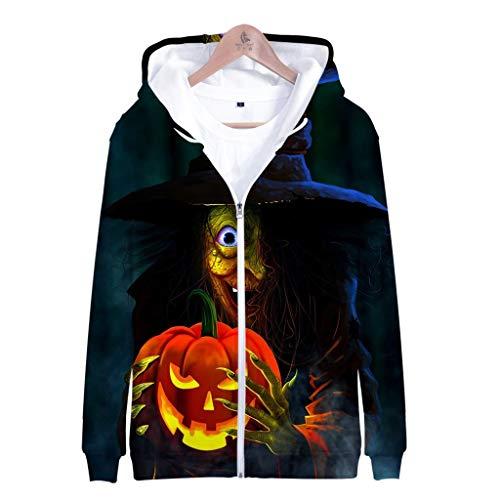 Mempire Halloween Hoodies pour Hommes Imprimé à Capuche Citrouille Lanterne Sweat-Shirts Zippé Cadeau De Jour Traditionnel