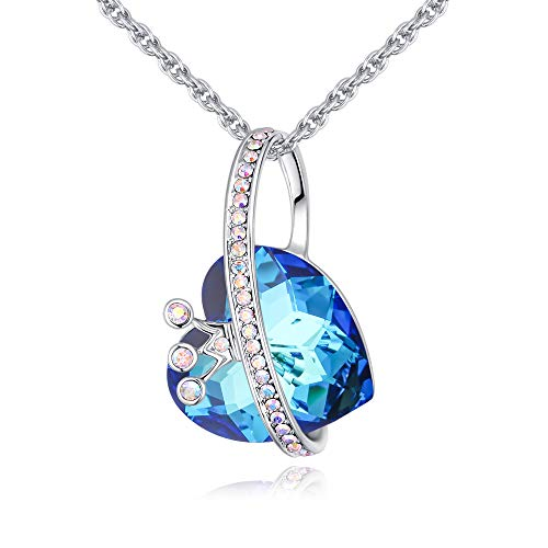 """LWQIONG Heart Pendant Necklace for Women Silver Crown Crystal Jewelry Birthstone Necklace for Girlfriend,Mon,Her Gift Silver-Tone, 18""""+2"""" Chain"""