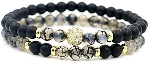 Pulsera de buena suerte Pulsera de piedra Mujer, 7 chakra perlas de cristal natural de piedra helada brazalete elástico dorado afortunado tibetano mala joyería yoga encanto difusor mujer pulsera regal