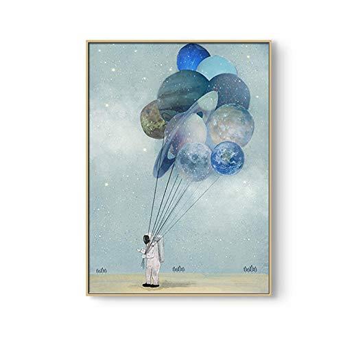 kaxiou Astronaut Planet Space Balloon Wall Art druk op canvas Cartoon dieren beer foto's voor Nursery Decor voor kinderen Nordic 50 x 70 cm zonder lijst