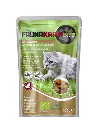 Faunakram Bio-Nassfutter für Katzen. Komplette Veterinärformel mit Hühnchen für Katzen. (Huhn Eco, 22 x 100g)