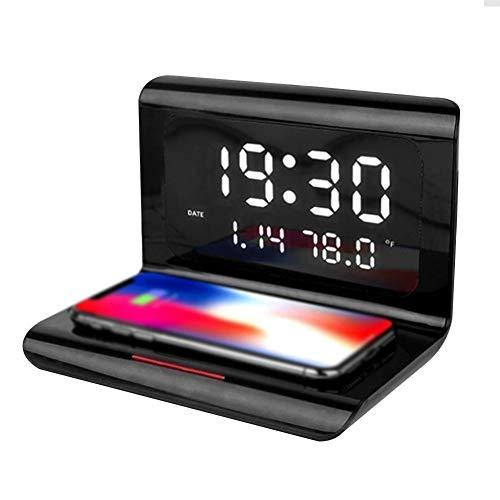 Digital Reloj Despertador Digital con Cargador Inalámbrico Calendario Temperatura Ambiente y Pantalla LED Wireless Charge-it Base de Carga Temporizador de Reposo Despertador Cabecera ( Color : Black )