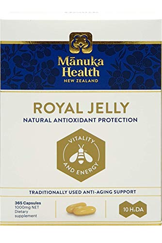 Manuka Health New Zealand 10H2DA Royal Jelly 365 Capsules Immune System Booster & Supports Skin Health & Vitality (1 Pack)