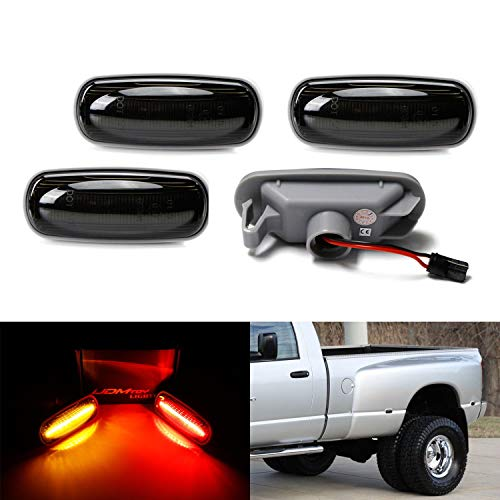 iJDMTOY Smoked Lens Amber/Red Full LED Trunk Bed Marker Lights Set Compatible With 2003-09 Dodge RAM 2500HD 3500HD Truck Double Wheel Side Fenders, Powered by Total 48 LED