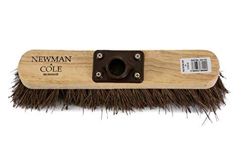 Newman and Cole 30,5 cm Holzbesenkopf mit steifen Borsten aus natürlichem Harthaar – Ersatz-Holzbesenkopf für den Außenbereich, Garten, Hof, Kehrbesen – Holzbürstenkopf mit Befestigungsbügel - 2