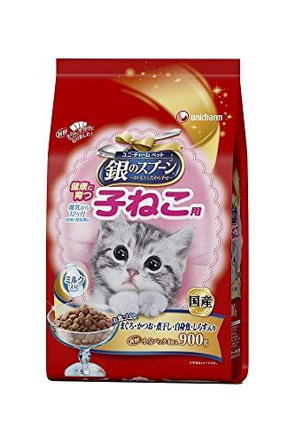 (まとめ買い)ユニ・チャーム 銀のスプーン 贅沢うまみ仕立て 健康に育つ子ねこ用お魚づくしミルク入り 900g 猫用 【×4】