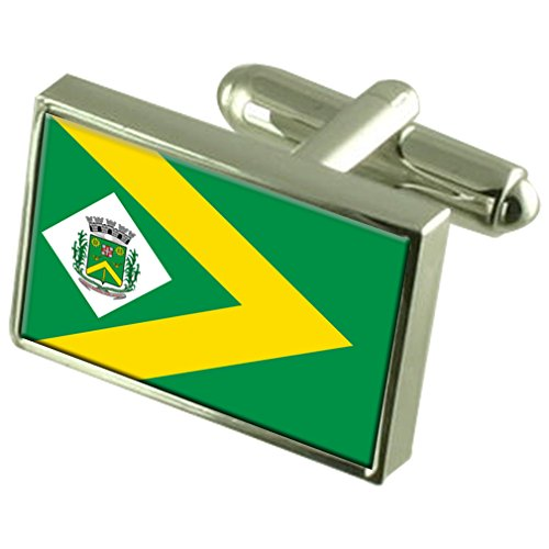 Select Gifts Santa Barbara d'Oeste Stadt Sao Paulo State Flag Sterling Silber Manschettenknöpfe graviert Box